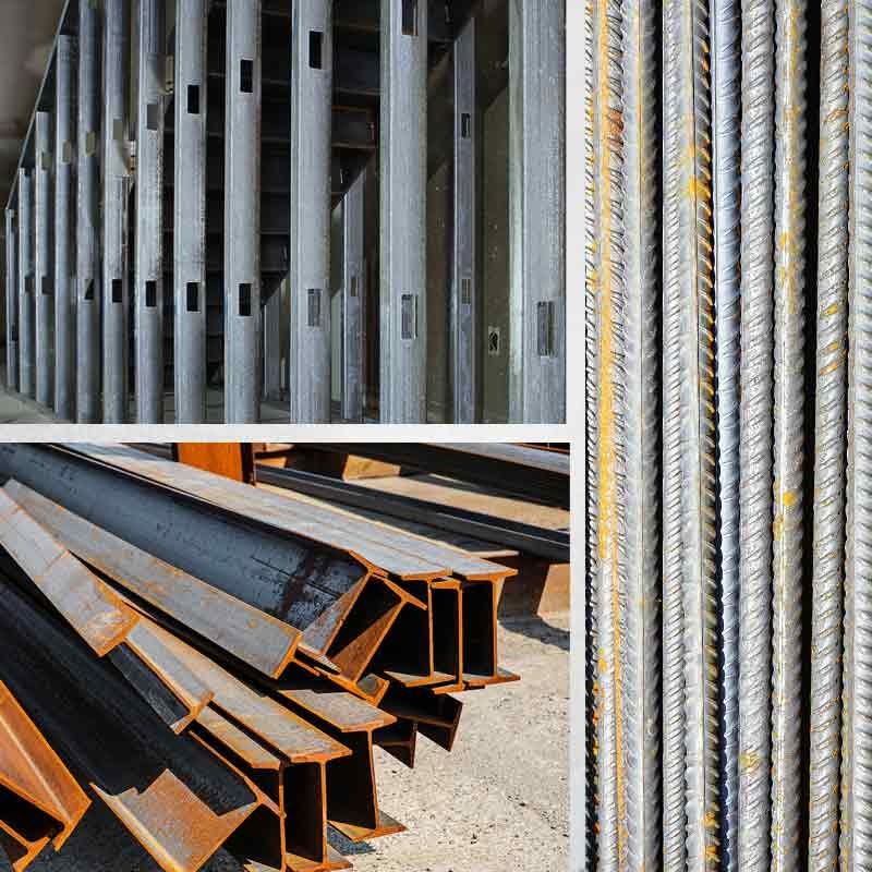 Steel beams, I-Beams, Rebar Materials