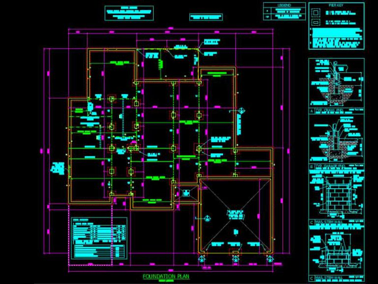 CAD Drawing of a Foundation Plan