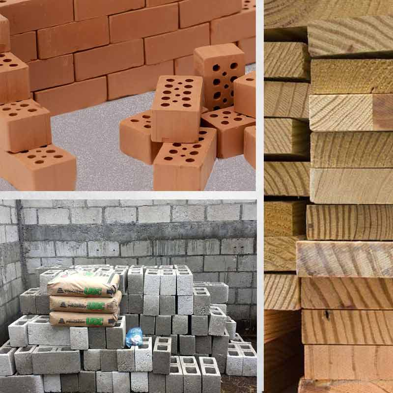 Materials: Brick, Concrete, Sewn Lumber